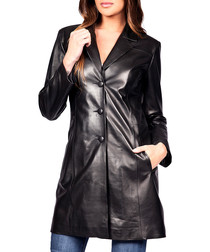 Leana black leather coat