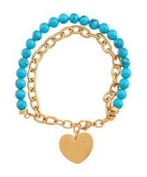 18k gold-plated turquoise bracelet
