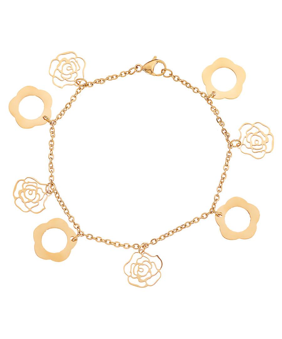 18ct gold-plated rose charm bracelet Sale - liv oliver