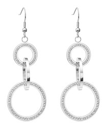 Silver-plated & crystal link earrings