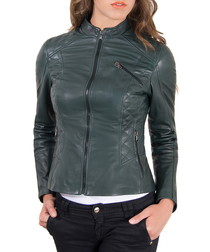 Green leather qulted jacket