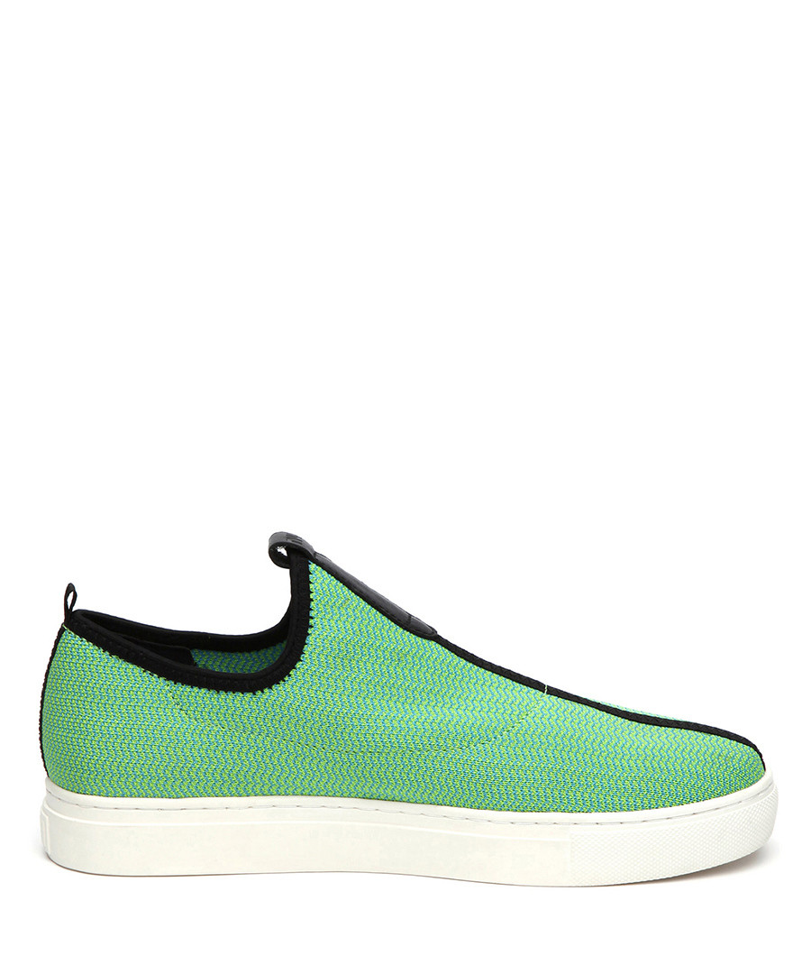 Green leather chevron slip-on sneakers  Sale - JADY ROSE
