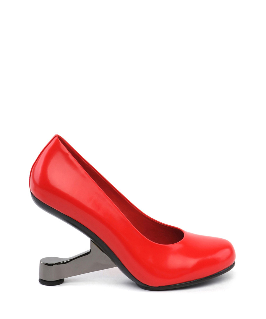 Red leather gravity heel courts  Sale - JADY ROSE