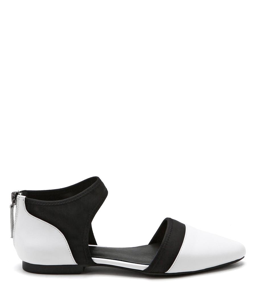 Black & white leather sandals Sale - Jady Rose