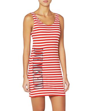 Love Moschino. Red   white cotton striped logo dress 513cc912960