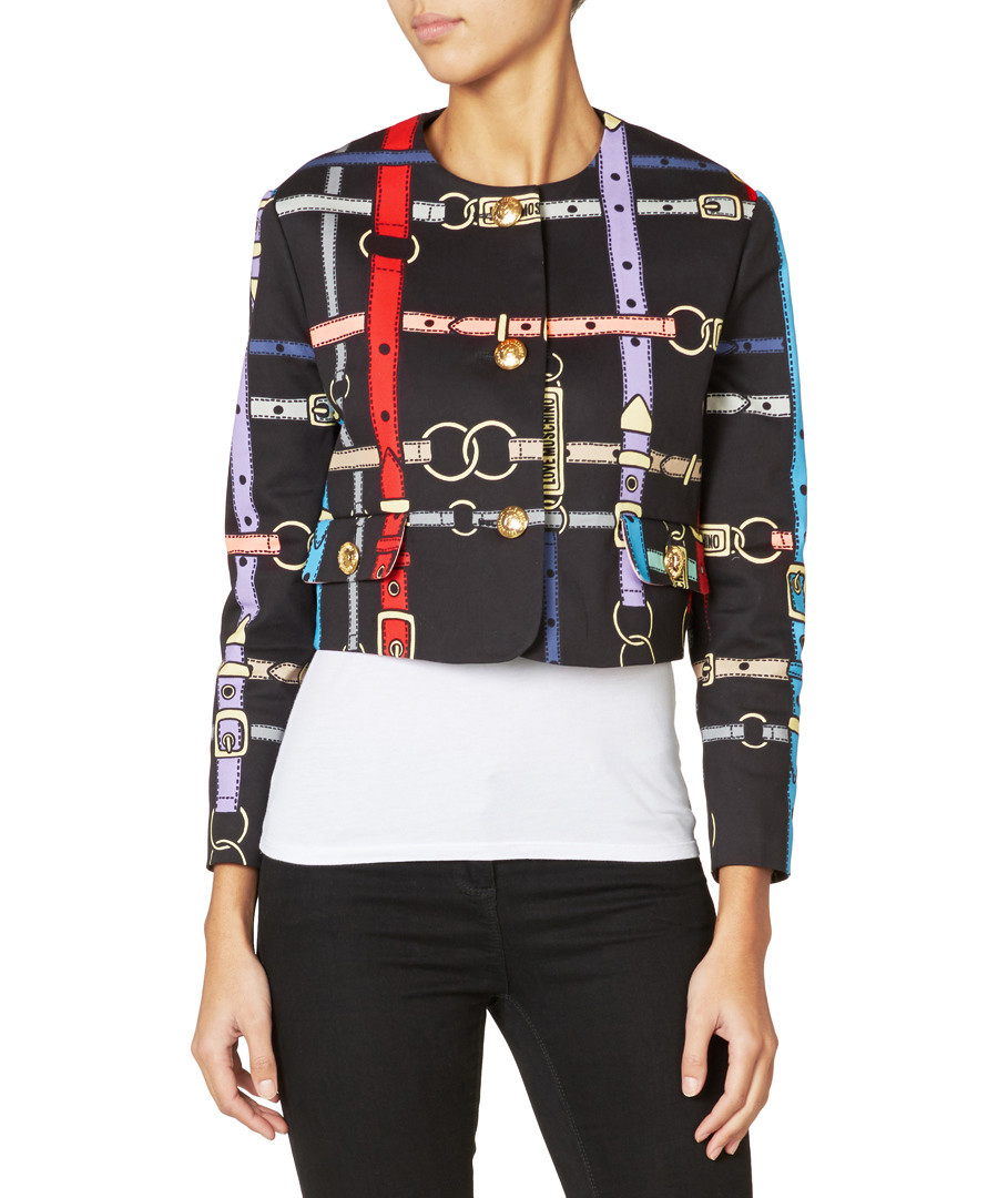 Discount Black Cotton Belt Print Cropped Jacket Secretsales Printed With Sash Sale Love Moschino