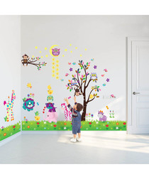 Multi-coloured tree wall stickers