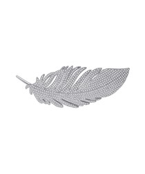 Feather 18ct white gold-plated brooch