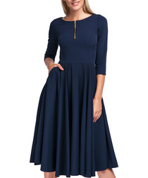 Navy midi quarter sleeve zip dress
