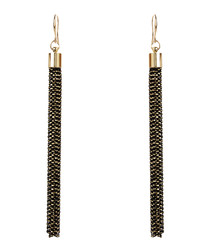 Linear black & gold-tone earrings