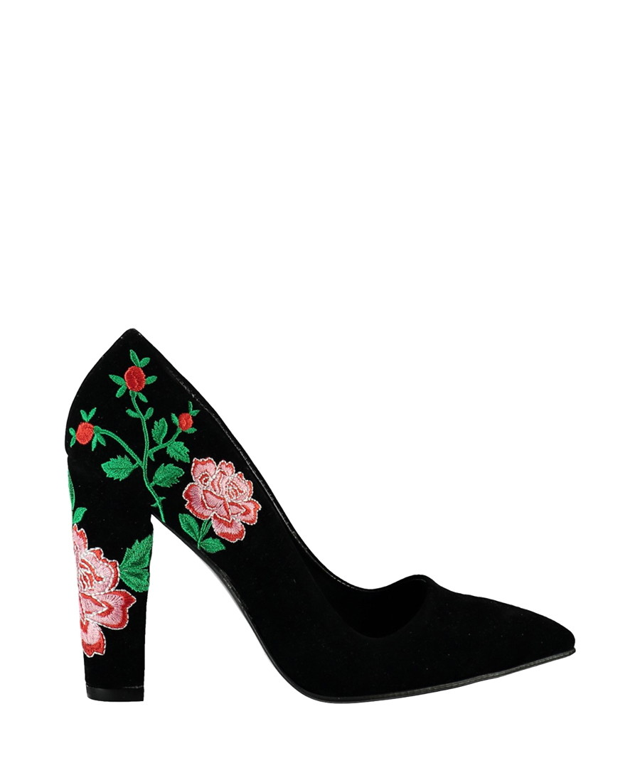 Black & pink suede embroidered heels  Sale - Fox Shoes