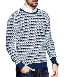 Blue pure cotton geometric jumper