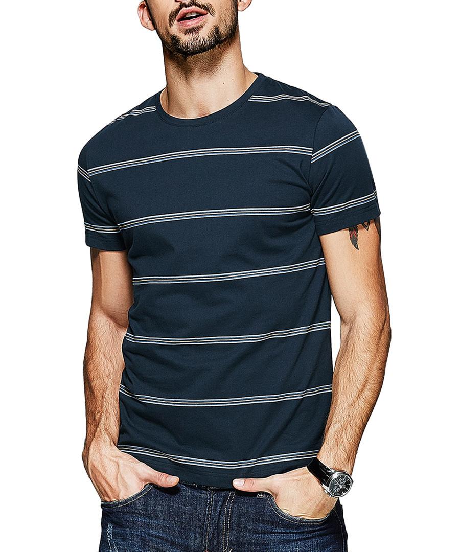 Navy pure cotton stripe T-shirt Sale - kuegou
