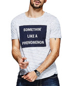 Blue & white cotton blend slogan T-shirt