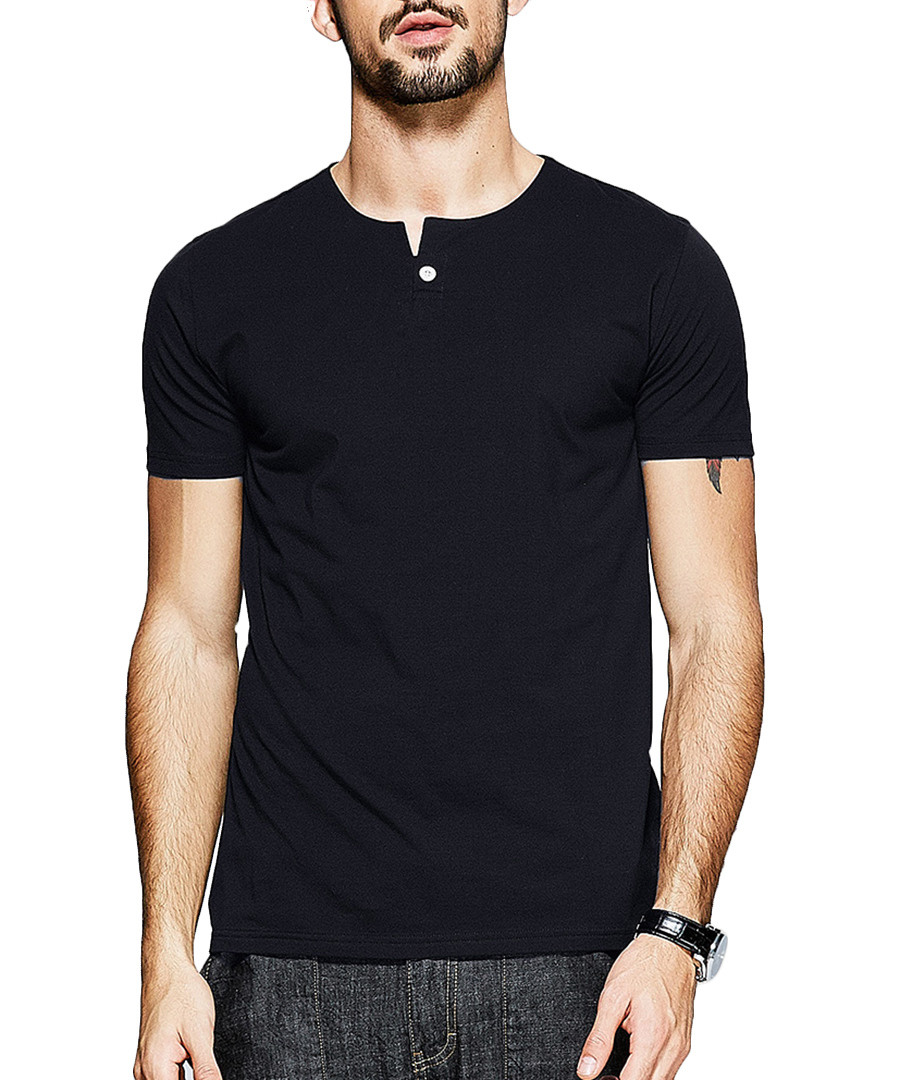 Black cotton one-button T-shirt Sale - kuegou