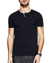 Black cotton one-button T-shirt