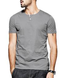 Grey cotton one-button T-shirt
