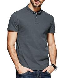 Charcoal cotton sleeve polo shirt