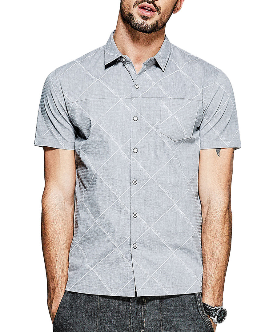 Grey cotton blend pattern shirt Sale - kuegou