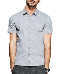 Grey cotton blend pattern shirt