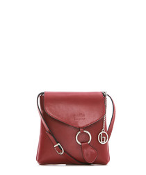 Red & silver-tone leather crossbody