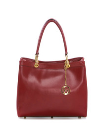 Red & gold-tone leather grab bag