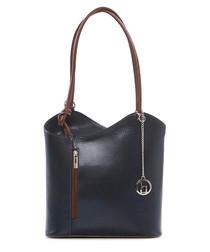 Navy & brown leather shoulder bag
