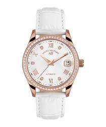 Demeter white leather diamond watch
