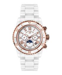 Sirène white & rose-gold tone watch