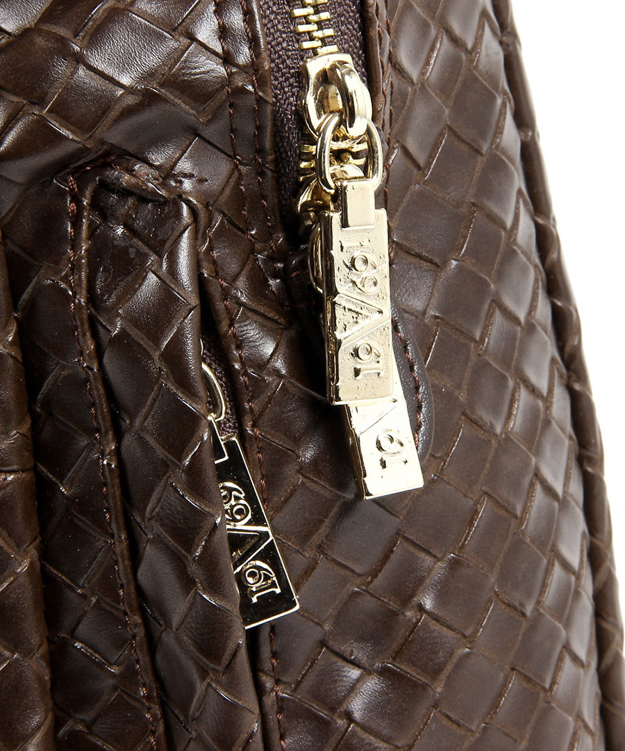 d8017a156d ... Coffee brown hatched detail backpack Sale - V ITALIA BY VERSACE 1969 ABBIGLIAMENTO  SPORTIVO SRL MILANO