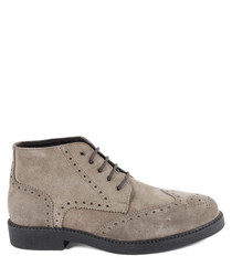 Taupe suede lace-up boots