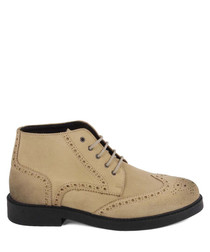 Men's Light taupe suede lace-up boots