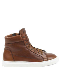 Sauvage brown leather hi-top sneakers