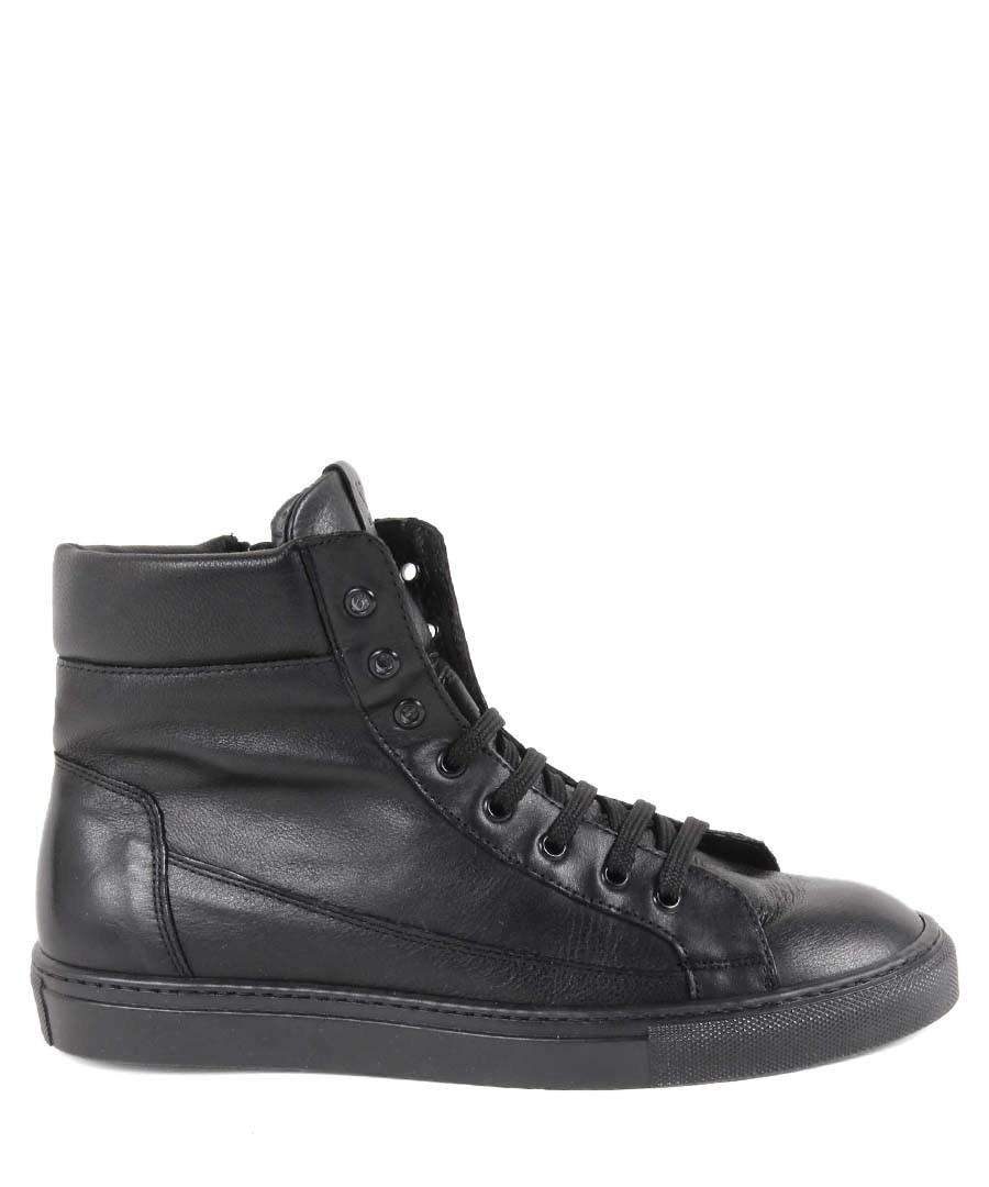 Black leather hi-top sneakers Sale - v italia by versace 1969 abbigliamento sportivo srl milano italia