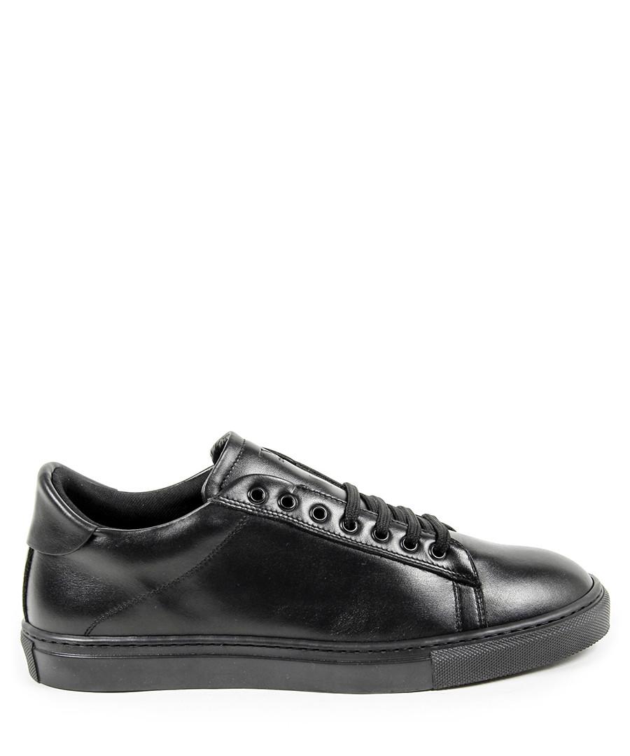 Men's Black leather minimal sneakers Sale - v italia by versace 1969 abbigliamento sportivo srl milano italia