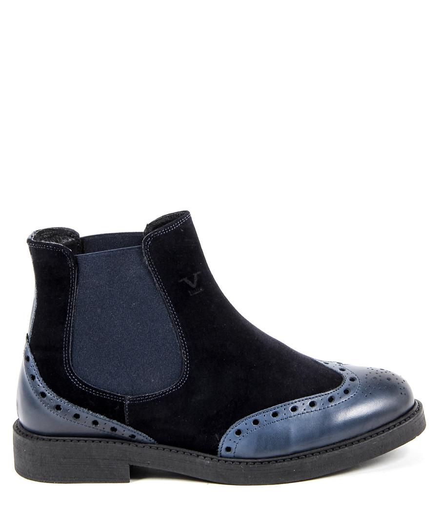 Men's Navy leather & suede Chelsea boots Sale - v italia by versace 1969 abbigliamento sportivo srl milano italia