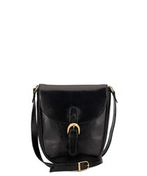 Black leather buckle crossbody bag