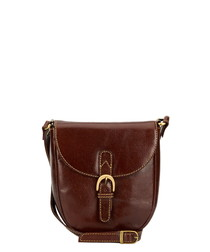 Brown leather buckle crossbody