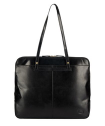 Black & gold-tone leather square bag