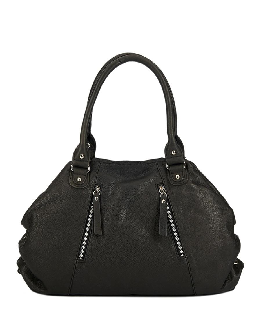 Black leather zip-detail shoulder bag  Sale - lloyd baker