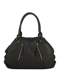 Black leather zip-detail shoulder bag
