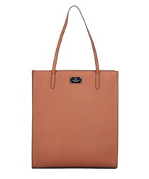 Salmon pink leather tote bag