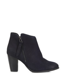 Scissor navy leather ankle boots