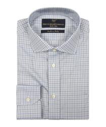 Light blue cotton checked shirt