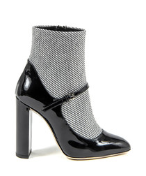 Women's Black & white patent ankle boots