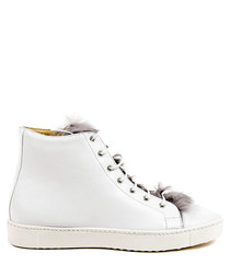 White leather furry hi-top sneakers