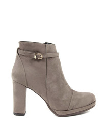 Taupe buckle detail ankle boots