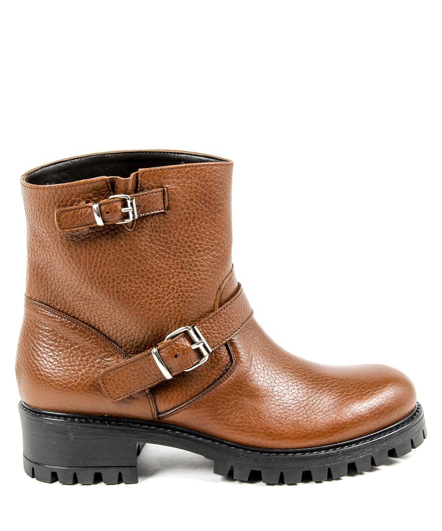 Tan leather textured ankle boots Sale - v italia by versace 1969 abbigliamento sportivo srl milano italia