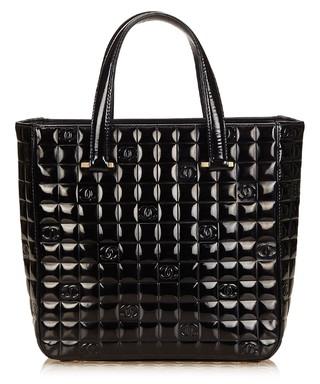 053695437105 Chocolate Bar black patent leather tote Sale - Vintage Chanel Sale