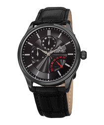 Black embossed leather strap watch